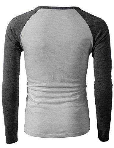Pliuegy Mens Casual Slim Fit Raglan Baseball Three-Quarter Sleeve Henley T-Shirts CMTTL077-CHARCOAL