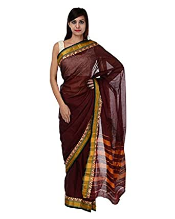 A1 Fashion Women Cotton Brown Saree With Blouse Piece