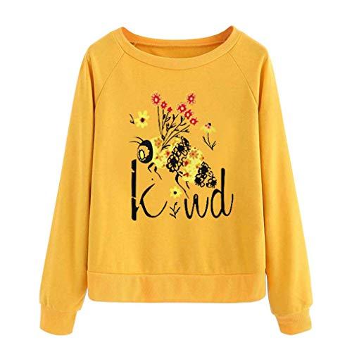 Tohole Damen Pullover Langarm T-Shirt Bluse Slim Fit Longsve Relaxed Langarmshirt Shirt Rundhalsausschnitt Blusen Winter Casual Lose Schulterfrei Sweatshirt Tops (Gelb,XL)