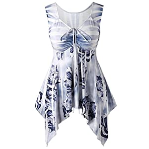 Keepwin Damen Mode Blumen Irregular Lace up Tunika Bluse Sommer Casual V Hals Ärmellos Tops T Shirts Oberteil
