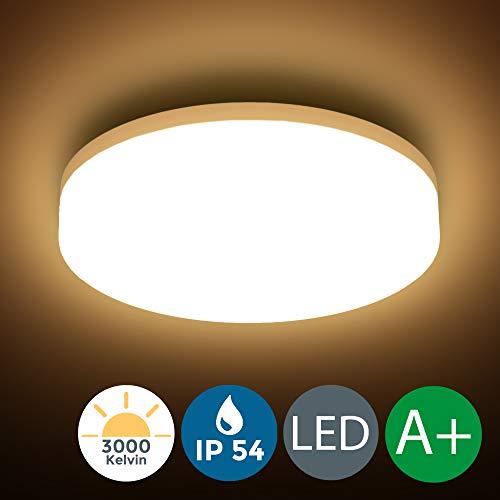 LED Deckenleuchte, wasserfest, IP54 inkl. 13W 1500lm LED Platine, 22cm Durchmesser, 3000K warm weiss, Badezimmer und Balkon geeignet