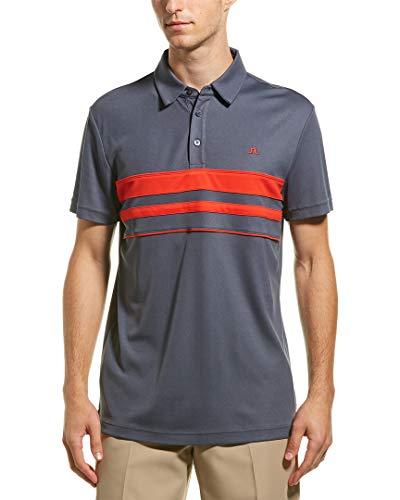 Stretch-streifen-polo-tee (J.Lindeberg Herren Printed Polo Golf-T-Shirt, dunkelgrau, Mittel)