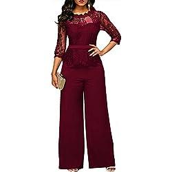 Lover-Beauty Combinaison de Dentelle élégante Femmes Haut Taille Haute Jambe Large Pantalon Long Barboteuse, Rouge, L(44-46)