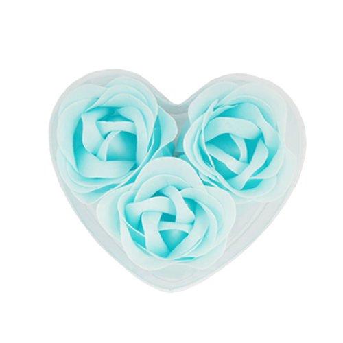 TOOGOO (R) 3 pz sapone petali di rosa Rosa blu doccia profumati con scatola cuore