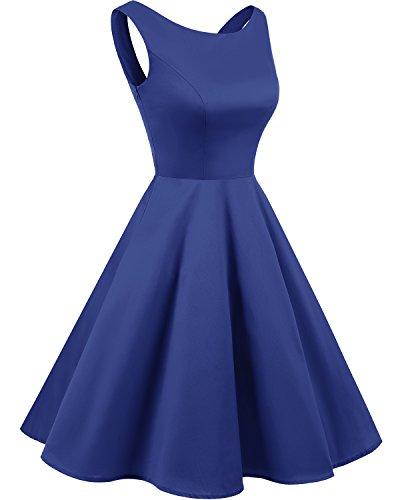 Bridesmay 50s Retro Vintage Rockabilly Kleid Partykleider Ärmellos CocktailKleid Royal Blue