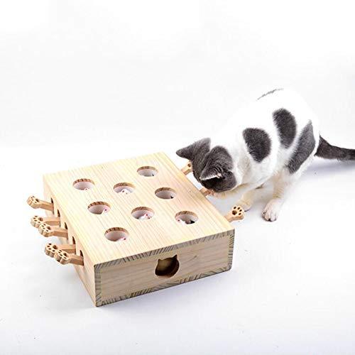 Tragbare Katze Spielzeug-Maus Sorgt für Flexibilität, Um Ihre Katze Der Übung, 8 Löcher Massivholz Material Sicher Und Unbedenklich Für Katzen Interaktiven Spielzeug,Mousemodel