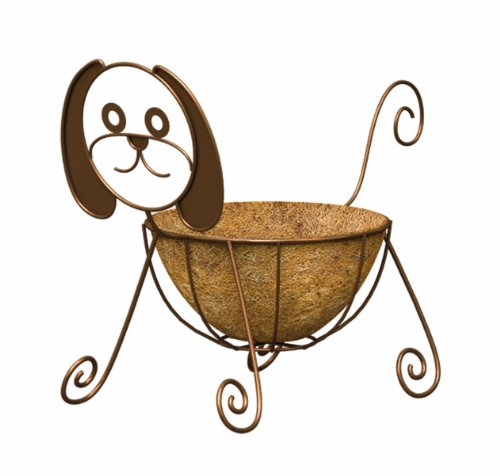 PANACEA PRODUCTS CORP-IMPORT - Planter, Dog, Coco Liner, Rust-Color Steel