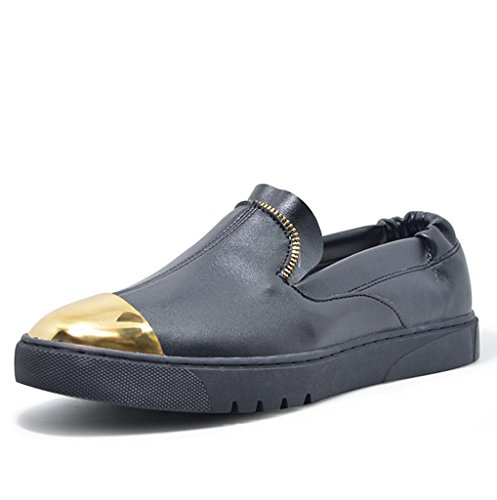 Heart&M Herren casual Komfort runden Fuß gesetzt Leder Schuhe Loafer Skaterschuhe Black