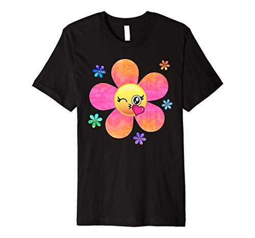 Kissy Face Flower Power Hippie Vibes Rainbow Emoji Shirt