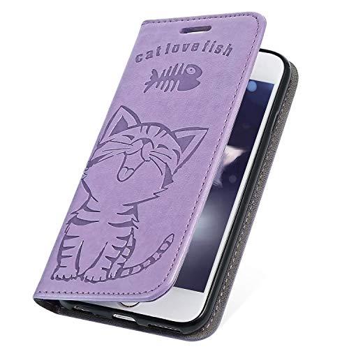 Preisvergleich Produktbild MoreChioce Galaxy Note 9 Hülle,Galaxy Note 9 Ledertasche, Niedlich Lila Fisch Ktaze Muster Klappbar Stand Flip Case Bookstyle Protective Wallet Case Magnetische pour Galaxy Note 9