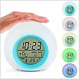 EXQULEG Wake-Up Licht, LED Licht, Tageslicht Wecker,Nachtlicht, Wecker mit Temperaturanzeige,für Erwachsene, Kinder, Kleinkinder, Jugendliche 7 Farben-modus, 5 natürliche Klänge
