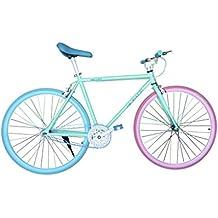 """Wizard Industry Helliot Soho 5313 - Bicicleta fixie, cuadro de acero, frenos V-Brake, horquilla acero y ruedas de 26"""", color azul y rosa"""