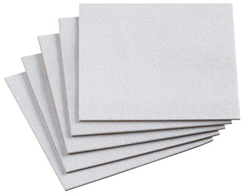 Metafranc Filz-Gleiter 200 x 200 mm, weiß - selbstklebend - 5 Stück - Für Parkett, Laminat, Fliesen, PVC / Stuhlgleiter / Filzgleiter / Filzplatten / Möbelgleiter / Zuschnitt aus 3 mm Filz / 645546