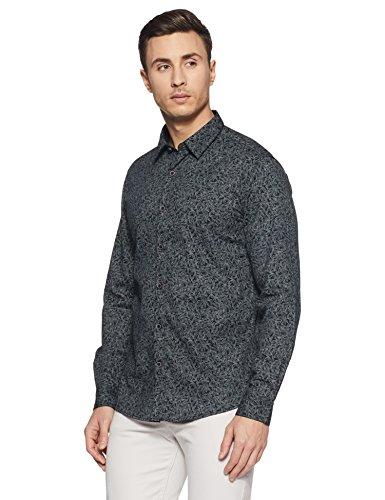 Spykar Men's Printed Slim Fit Casual Shirt (MSH-02AG-111_Black_X-Large)