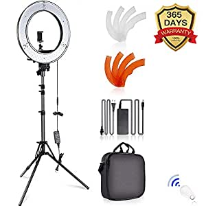 SAMTIAN LED Ring Light 12-inch Inner/14-inch Outer 180 Dimmable LED Lighting Kit with 2M Light Stand, Phone Holder ,Bluetooth Receiver for Video Shooting, YouTube Video, Portraiture, Makeup