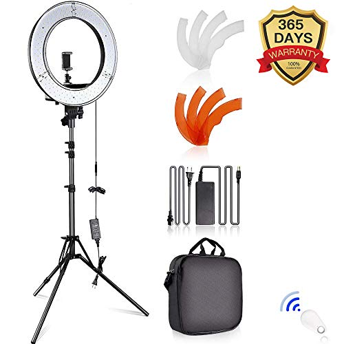 SAMTIAN Caméra Photo Vidéo Eclairage Kit: 14 Pouces Extérieur 45W 5500K Réglable LED Lumière Anneau, Trépied d'Eclairage, Récepteur Bluetooth pour Smartphone, Youtube, Vine Self-Portrait Vidéo
