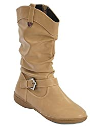 Shuberry Latest Footwear Collection, 10.9 inches Length Comfortable & Fashionable Slouch Boots with Exclusive Belt Design For Womens & Girls - (Beige)