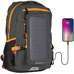 SunnyBAG Explorer+ Sac à Dos pour Ordinateur Portable Panneau Solaire Amovible 6Watts Port de Charge USB Énergie Solaire - Noir-Orange