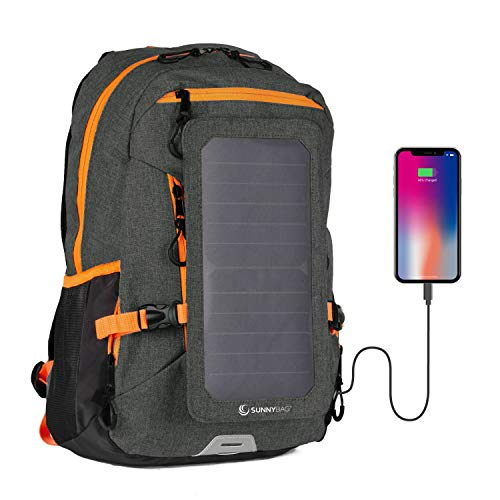 SunnyBAG Explorer+ Backpack with Solar-Panel | solarbag solarcharger | World's Strongest solarpanel for Smartphone Charging on The go | Black/Orange -