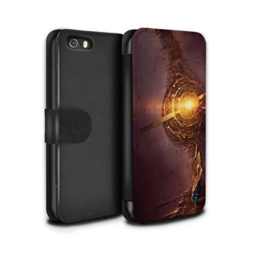 Offiziell Chris Cold PU-Leder Hülle/Case/Tasche/Cover für Apple iPhone SE / Phönix/Raumzeit Muster / Galaktische Welt Kollektion Raumfahrzeug