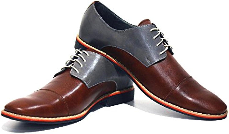 Modello Soprano - - - Handmade Italiano da Uomo in Pelle Marronee Scarpe da Sera - Vacchetta Pelle Morbido - Allacciare | Shop  a608e9