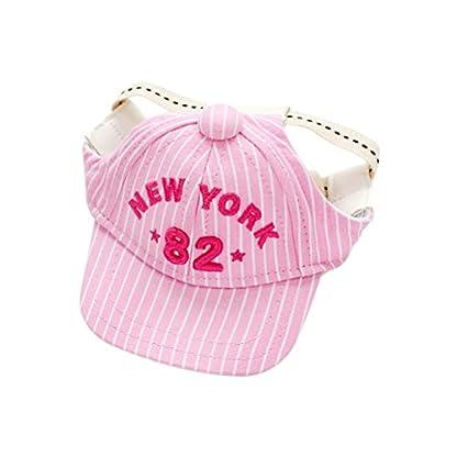 UEETEK Pet Dog Baseball Cap Visor Sun Hat with Ear Holes for Small Dog Size M Pink 1
