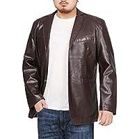 Men Jacket Home Cuello de Solapa de Cuero de imitación de los Hombres Slim Fit Chaqueta de Abrigo Grande y Alto (Color : Dark Purple, Size : M)