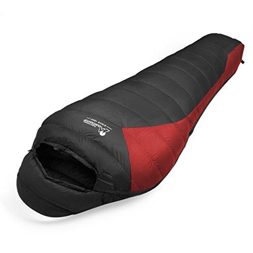 Mountaintop Daunenschlafsäcke Mumienschlafsack für Camping, Wandern, Outdooraktivitäten, 3/4 Jahreszeiten, Schlafsack