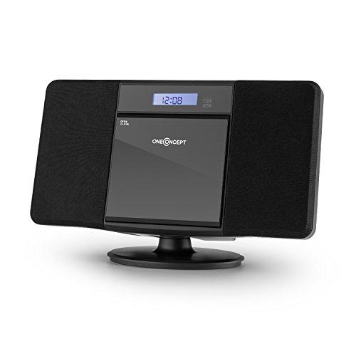 Oneconcept V-13-BT mini impianto stereo compatto Entrata USB MP3 Funzione Bluetooth CD MP3 Player Ingresso AUX-In Schermo LCD radio telecomando incluso allarme Bass boost nero