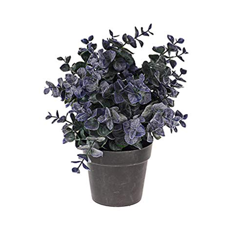 Floristrywarehouse Buisson d'eucalyptus Artificiel en Pot Bleu Gris 24,1 cm