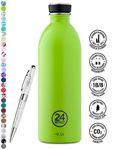 24 Bottles Trinkflasche Urban 250 ml   500 ml   1000 ml versch. Farben inkl. Lieblingsmensch Kugelschreiber, Größe:1000 ml, Farbe:lime green Lime Green Bottle
