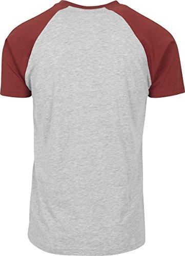 Urban Classics Herren T-Shirt Raglan Contrast Tee Mehrfarbig (Grey/Rusty 1156)