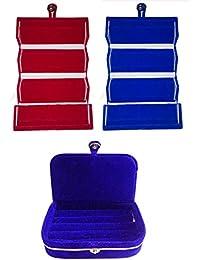 Afrose Combo 1 Pc Red Earring Folder 1 Pc Blue Ear Ring Folder 1 Pc Blue Ring Jewelry Vanity Box