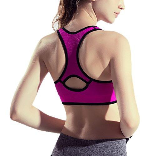 iBaste Brassière Sport Femme Soutien-gorge de Sport Avant Zipper Sans Couture Rose rouge