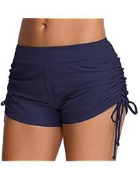 OLIPHEE Femmes Shorts de Bain Classique-Yoga, Jogging, Natation, Plage, Piscine