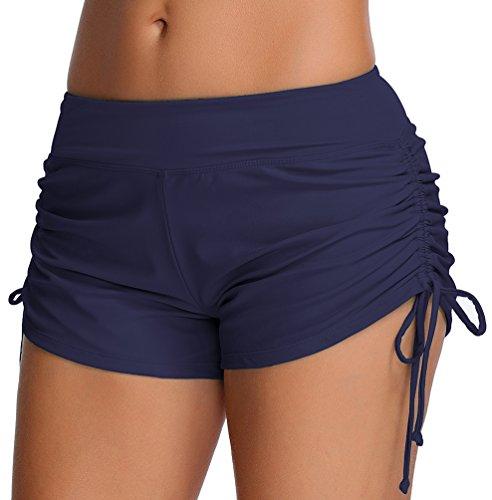 OLIPHEE Damen Badeshorts Bikinihose Wassersport Hotpants Verstellbare Kordel Bände Schwimmshorts Bunte Farben Dunkelblau M