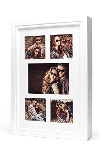 Schmuckkasten Fotorahmen Bilderrahmen Spiegel in weiß für 5 Fotos - 45x32x7cm Schmuckaufbewahrung Dekoration Deko Ringhalter Schmuckschrank Fotogalerie Collage Fotocollage - 2
