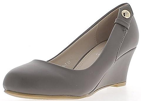 Chaussures femme compensées grises bouts ronds à talon de 6