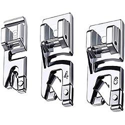LMYJ Ensemble de pieds presseurs à ourlet roulé étroit (3 mm, 4 mm et 6 mm) pour la plupart des machines à coudre Singer Brother Hemming Pieds presseurs