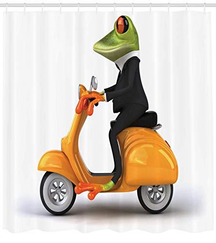 ABAKUHAUS Lustig Duschvorhang, Italienisches Frosch-Motorrad, mit 12 Ringe Set Wasserdicht Stielvoll Modern Farbfest und Schimmel Resistent, 175x200 cm, Orange Schwarz Grün (Orange Duschvorhang Und Grün)