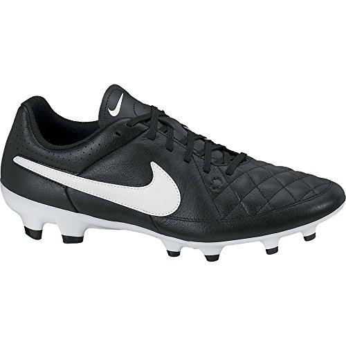 Nike Tiempo Genio Leather FG Homme Chaussures de Football Noir/Blanc