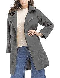 Damen Trenchcoat Fashion Elegant Unifarben Kaschmir Mantel Apparel Herbst  Winterparka Synthetisch Wolle Winter Langarm Revers Mit b68e418244