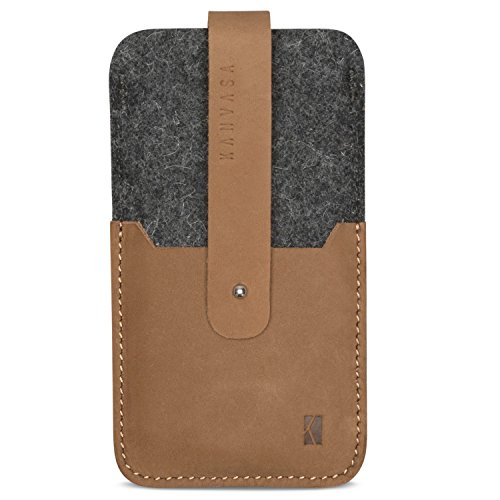 KANVASA iPhone 8 Plus / 7 Plus / 6s Plus / 6 Plus Filztasche Woods - Edle Leder Filz Hülle Grau Braun - Vintage Tasche Case Ledertasche Lederhülle - Wollfilz & Echtleder Schutzhülle mit Zugfunktion