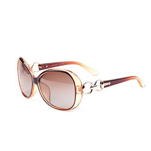 VeBrellen Lusso trasparente gli occhiali da sole polarizzati Retro Eyewear Piazza femminile Telaio Occhiali (Brown, 60)