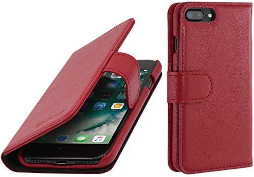 StilGut Talis Schutz-Hülle für iPhone 8 Plus & iPhone 7 Plus (5,5 Zoll) mit Kreditkarten-Fächern aus echtem Leder, Cognac Vintage Rot Nappa