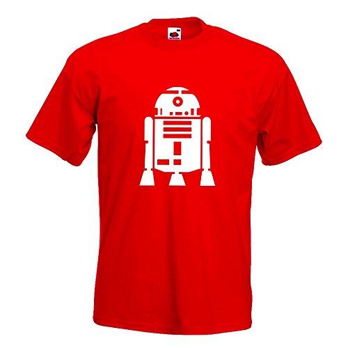 KIWISTAR - R2D2 Astromechdroide T-Shirt in 15 verschiedenen Farben - Herren Funshirt bedruckt Design Sprüche Spruch Motive Oberteil Baumwolle Print Größe S M L XL XXL Rot