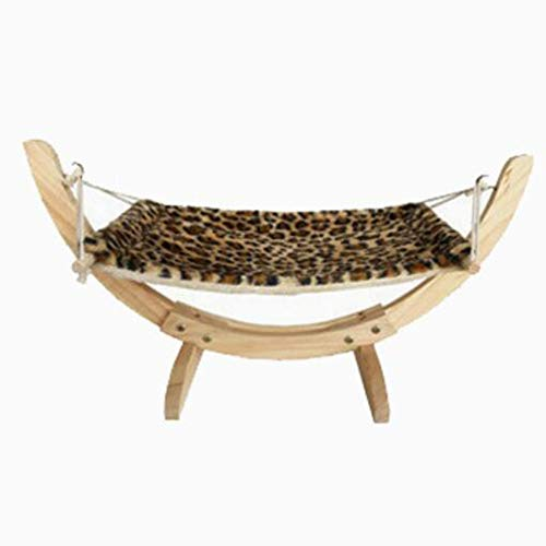 Yiwa Haustier Katzen Schlafplätze & Möbel,Haustier Massivholz Kleine Hängematte Hund Katze Weiches Plüschschlafsofa Leopard-Print Short Plush