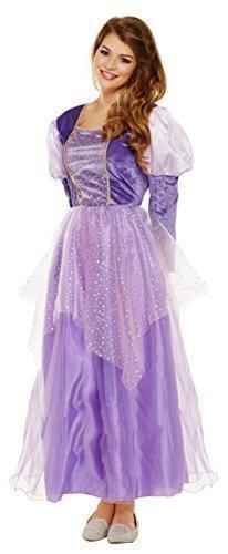 Damen Lila Mittelalterliche Prinzessin Märchen Kostüm Kleid Outfit UK 8-10-12