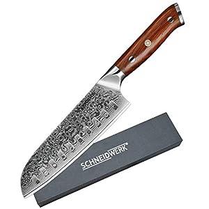 SCHNEIDWERK Santoku-Messer Damastmesser, Küchenmesser 17,6 cm Klingenlänge, 67 Lagen Edelstahl-Damast, Kochmesser Damaststahl, sehr scharf, Damaszener-Stahl Rostfrei DI-Serie
