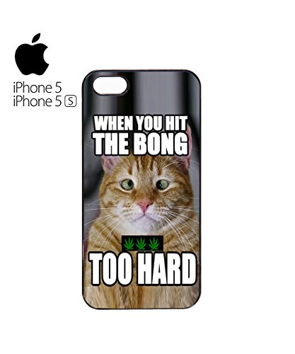 When You Hit The Bong Too Hard Squinting Cat Mobile Phone Case Cover iPhone 6 Plus + White Blanc